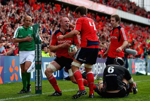 The joy on Paul O'Connell's face is plain to see after scoring a try for Munster in their one-sided Heineken Cup quarter-final victory over the Ospreys at Thomond Park