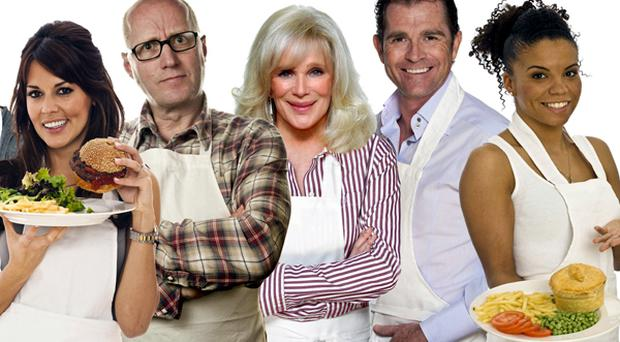 Kitchen contestants: Danielle Bux, Adrian Edmondson, Linda Evans, Grant Bovey and Niomi Daley (Ms Dynamite)