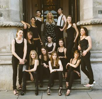 Talent scout Fiona Ellis (centre, with blonde hair) and supermodel Erin O'Connor (white vest) with the Model Agent contestants