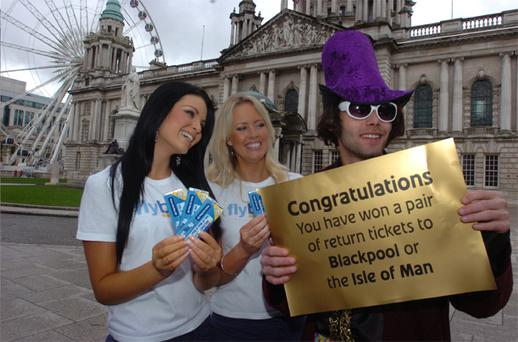 Willy Wonka was in Belfast to give away free flights