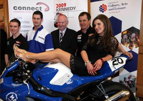 Alistair Seeley, Denver Robb, Mervyn Whyte, John McGuinness and model Jayne Logan at the Ramada in Portrush last night