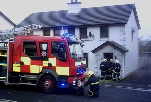Firefighters at the scene of the dramatic rescue in Coleraine on Wednesday