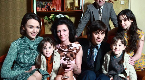 Family Portrait (left to right): Carol Best - Lisa Hogg; Julie Best (Twin) - Catherine Quinn; Ann Best - Michelle Fairley; George Best - Tom Payne; Dickie Best - Lorcan Cranitch; Grace Best (Twin) - Amy Quinn; Barbara Best - Laura Donnelly