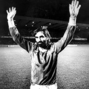 Football legend George Best pictured at Windsor Park