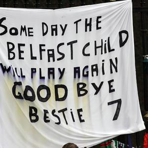 Flags at George Best funeral at Stormont. Saturday 3rd December 2005