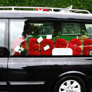 The George Best funeral cortege on the Ballygowan Road.