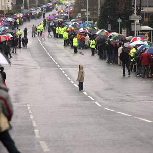 The crowd on the Cregagh Road waiting for George Best's funeral cortege.