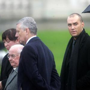 Dickie and Calum Best at the funeral of George Best funeral at Stormont.