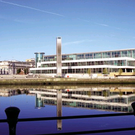 Lanyon Quay overlooks Belfast's River Lagan and the Waterfront Hall