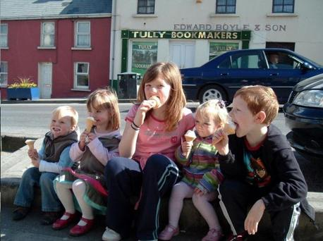Madeleine (second from left) with (left to right) brother Sean, cousin Fiona McCann, sister Amelie and cousin Gregor McCann in Donegal