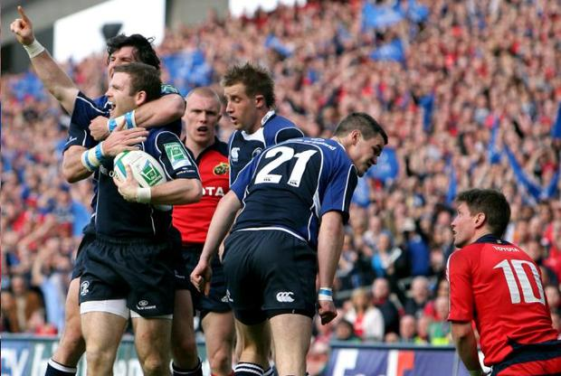 Shane Horgan takes Gordon D'Arcy in a headlock as Leinster celebrate their opening try in Saturday's Heineken Cup semi-final demolition of Munster at Croke Park