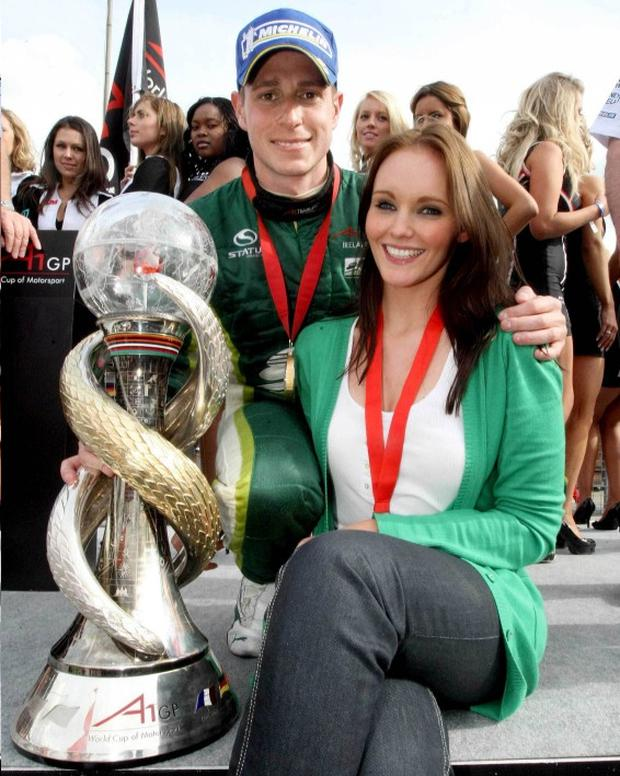 Adam Carroll pictured with his Girlfriend Claire Simmons after he won the A1GP championship
