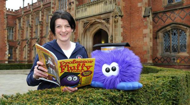 Patricia Hampson of Queen's Widening Participation Unit with Professor Fluffy