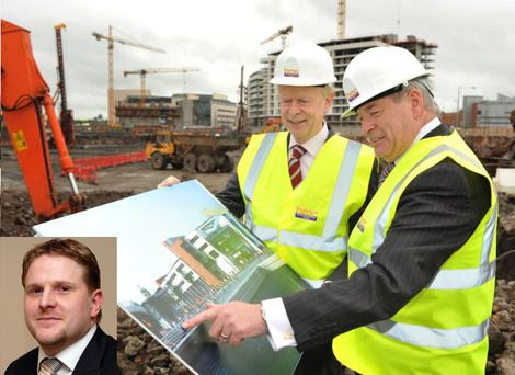 A report by Neil Gibson (inset) of Oxford Economics poses serious questions about Northern Ireland's skills shortage for Employment Minister Sir Reg Empey, who is pictured at the sod-cutting ceremony last week for the £44m Belfast Metropolitan College campus at Titanic Quarter in the company of Raymond Mullan, interim director and chief executive of the college, which is due to open in August 2011