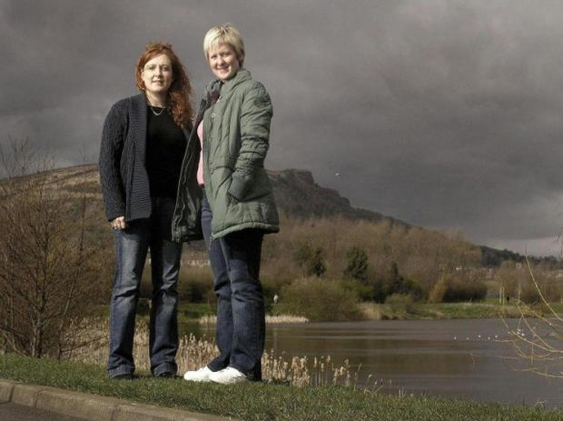 Undated Channel 4 handout photo of Katrina Newell (right) and Claire Kelly at the Waterworks site in North Belfast, one of the six communities announced today to get new pieces of public art as part of a Channel 4 series.