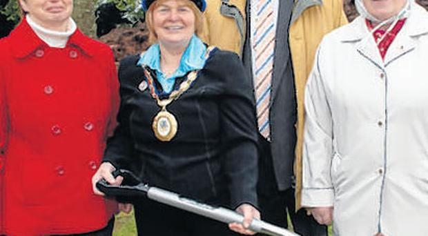 (L-r) Castlereagh councillor Sara Duncan, Castlereagh Mayor Ann Marie Beattie, and fellow Castlereagh councillors Cecil Hall and Rosaleen Hughes MBE