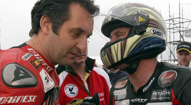 Michael Rutter and John McGuinness warm up for the North West 200 races