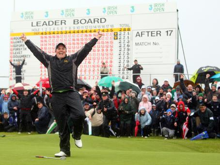 Shane Lowry jumps for joy after beating Robert Rock at the third play-off hole at The 3 Irish Open at Baltray