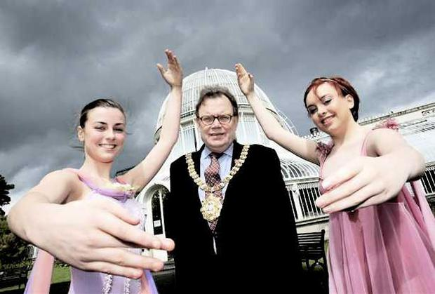 Belfast Lord Mayor Tom Hartley and ballet dancers at the launch of Ballet In Botanic, which will take place on June 3
