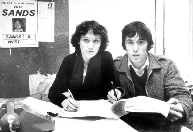 Bobby Sands election campaign. At the Coalisland headquarters are, Noreen Campbell and Seamus McGuckin. 4/4/1981.