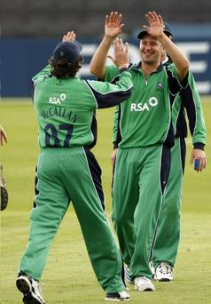 Captain Kyle McCallan celebrates Ireland's victory over Worcestershire