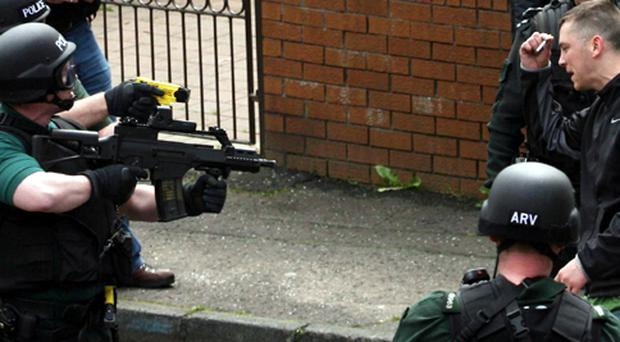 Damien Doherty is arrested by PSNI officers