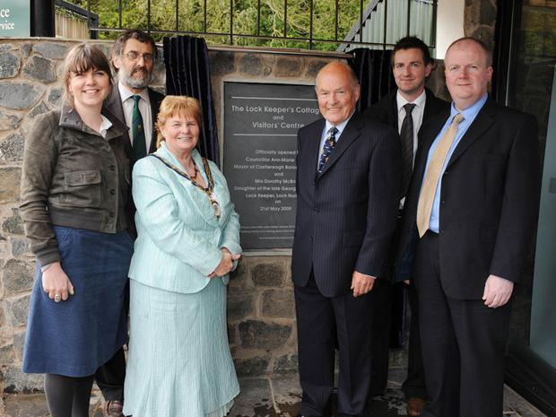 Castlereagh Mayor Ann Marie Beattie (centre) and (l-r) Rita Harkin, Paul Carr, Harold McBride and Colin McCabrey