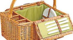 <b>Debenhams</b><br/> A nicely rustic and inexpensive wicker basket with four settings and a smart olive-green lining. It comes with cutlery and three bottle-holders. <br/> <b>Price</b>: £37.50<br/> www.debenhams.com
