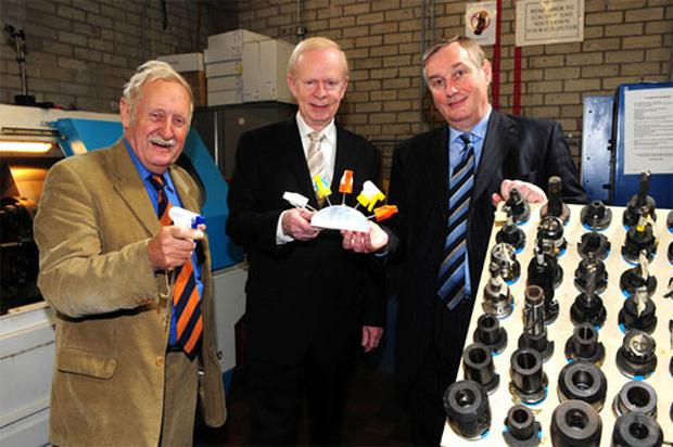 (L-r) Trevor Baylis, chair of Innovation at South Eastern Regional College, Sir Reg Empey, DEL Minister, and Ken Web, SERC CEO