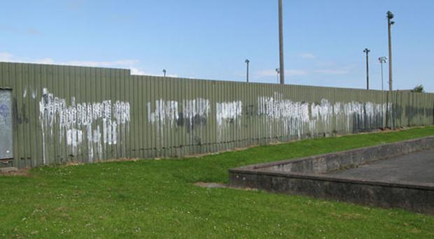 Graffiti has plagued the home of Bangor Amateurs FC (pictured) for a number of years