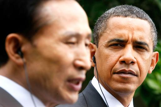 US President Barack Obama listens as South Korean President Lee Myung-Bak speaks. US officials said they were confident that they would have all the necessary defences in place around Hawaii should an attack occur