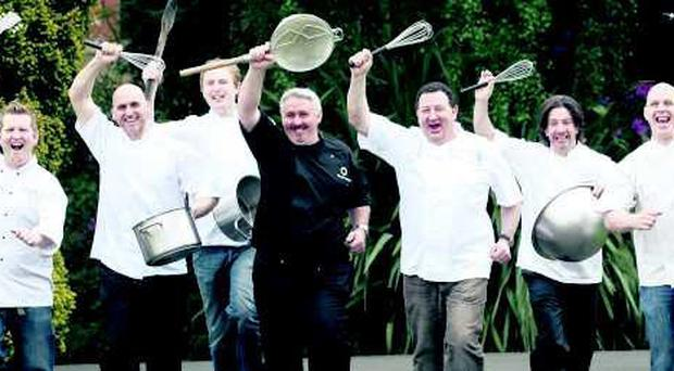 Local chefs taking part in the festival get their instruments at the ready