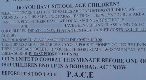A fly poster in the Rosetta area which named two alleged local drug dealers (names removed)