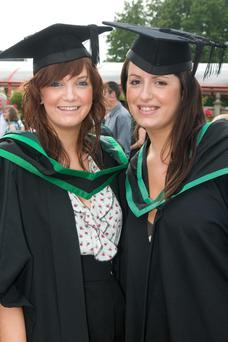 University of Ulster Graduations, Coleraine Tuesday 29.6.09. Pictures Martin McKeown. Inpresspics.com. 29.6.09Sarah Forbes from Lisburn who graduated with a BSc (Hons) Business Studies with Marketing and Samantha Swann from Lisburn who graduated with a BSc (Hons) Business and Psychology