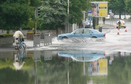 Battling though floods in Dublin