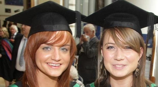 02.07.09. Picture by David Fitzgerald. University of Ulster graduations in the Waterfront Hall Belfast. Seona Boyle and Stephanie McLernon who achieved a BSC Honours in Occupational Therapy