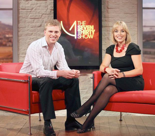 Mark Mallet and Tina Campbell pictured on the set of their new UTV program - The Seven Thirty Show