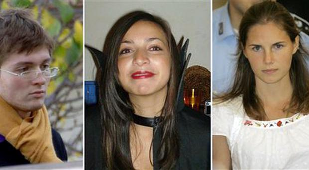 From left, of Italian student Raffaele Sollecito, slain British woman Meredith Kercher and her American roommate Amanda Knox