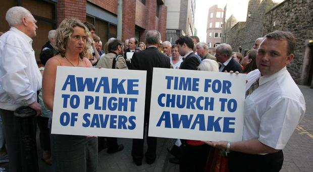 Presbyterian Mutual Society members held a protest outside Church House in Belfast at the start of the Presbyterian Church in Ireland's General Assembly