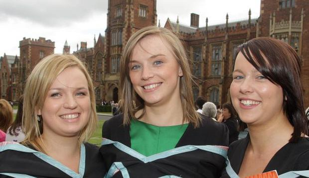 Anne Holland, Deirdre Morrow and Claire Reynolds who graduated in Economics and Finance