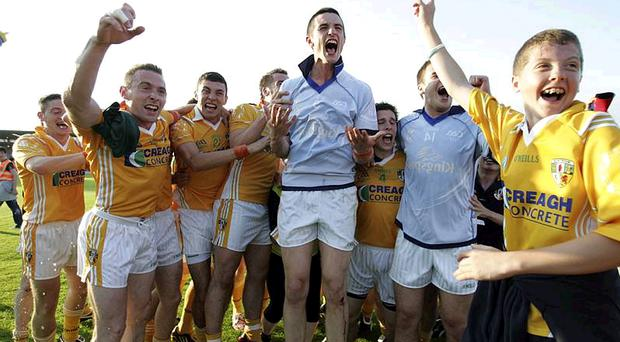 Antrim players celebrate the semi-final win over Cavan. The team are gearing up for the Ulster Final in Clones on Sunday