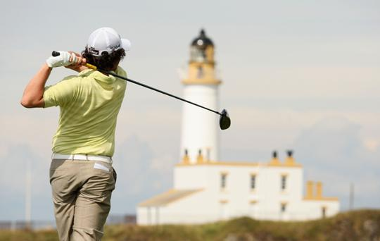 Rory McIlroy tees off during round one of the 138th Open Championship on the Ailsa Course, Turnberry Golf Club