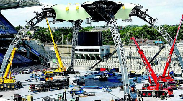 Claw blimey! Work continues on the revolutionary stage for the first of U2's three gigs in Dublin's Croke Park