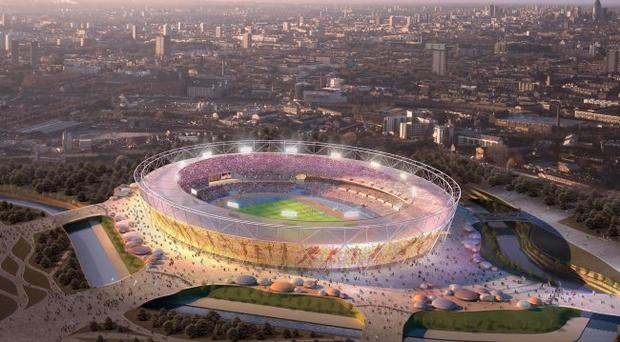 An artists impression of the new Olympic stadium in London