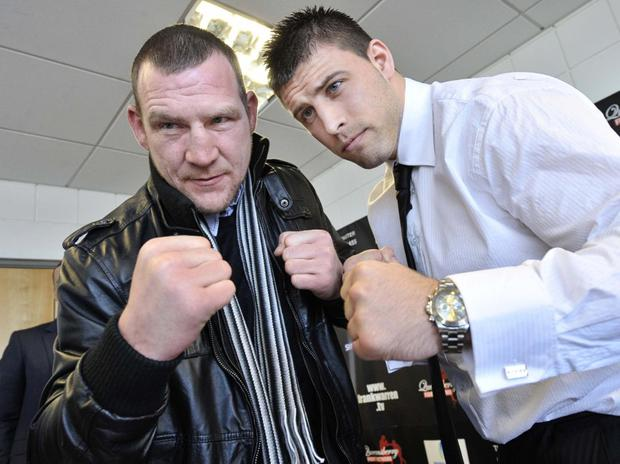 Russell Pritchard/Presseye.com-31st March 2009..Press Eye Ltd- Northern Ireland -31st March 2009...Commonwealth Heavyweight Champion Martin Rogan meets his challenger Sam Sexton at The Press Conference held at The Odyssey Arena, Belfast before his May 15th Defence of his title..Mandatory Credit - Photo by Russell Pritchard/Presseye.com... Russell Pritchard/Presseye....Press Eye office contact information..Press Eye office - 02890 669229..Kelvin Boyes mobile - 07850 334 365..Philip Matthews - mobile - 07817 978 766..mail@presseye.com