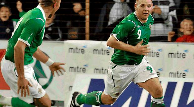Northern Ireland's Billy Kee celebrates scoring against Bulgaria