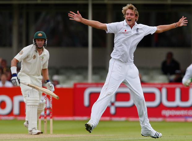 England bowler Stuart Broad celebrates after taking the wicket of Michael Hussey during day five of the npower 3rd Ashes Test Match