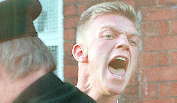 Notorious loyalist UFF 'Trick or Treat' killer Torrens Knight pictured at his first court appearance days after the infamous massacre at the Rising Sun Bar in Greysteel in North County Londonderry in October 1993