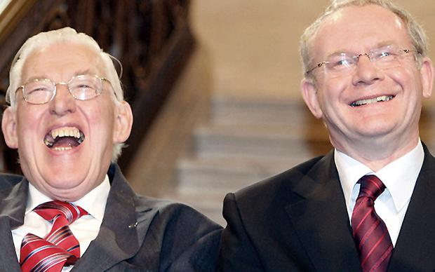 Shared laughter between the then First Minister Ian Paisley and Deputy First Minister Martin McGuinness in May 2007