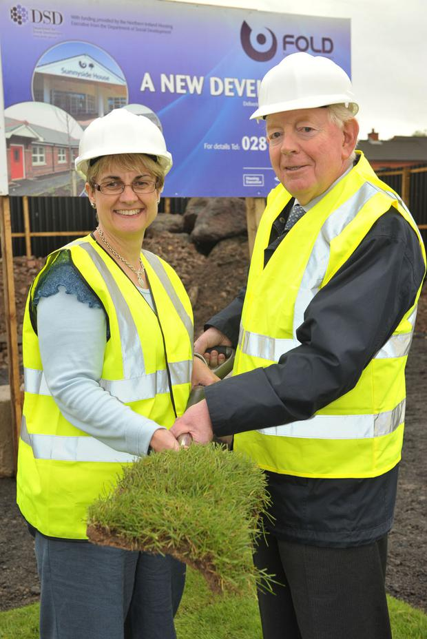 Social Development Minister Margaret Ritchie MLA, with Billy Cameron Chairman of the FOLD Housing Association, officially cuts the first sod to launch 43 new family houses at Roden street in South Belfast.The development by FOLD Housing Assiciation is part of the ongoing regeneration of the wider Donegall Road and Greater Village area.Photo by Aaron McCracken/Harrison Photography